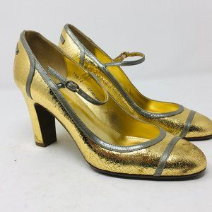 J crew Gold Mary Janes